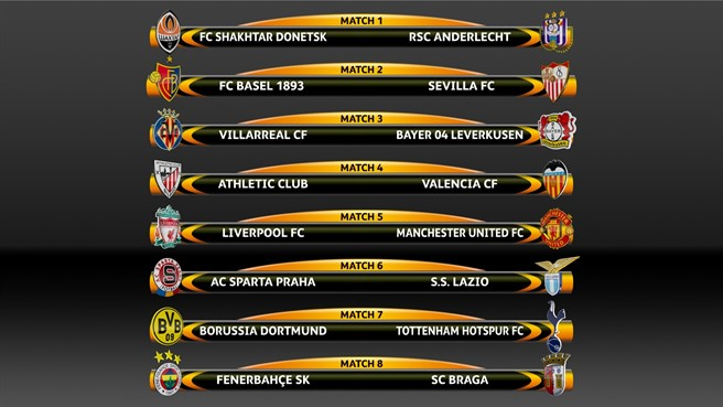 Пары команд в 1/8 финала ЛЕ УЕФА 2015-2016