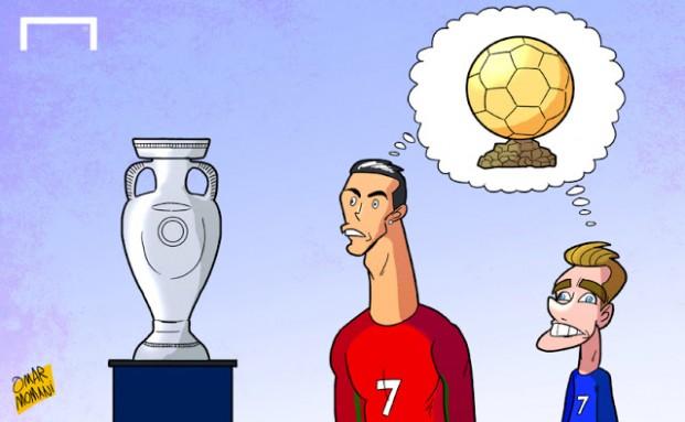 Карикатура Омара Момани перед финалом Евро-2016