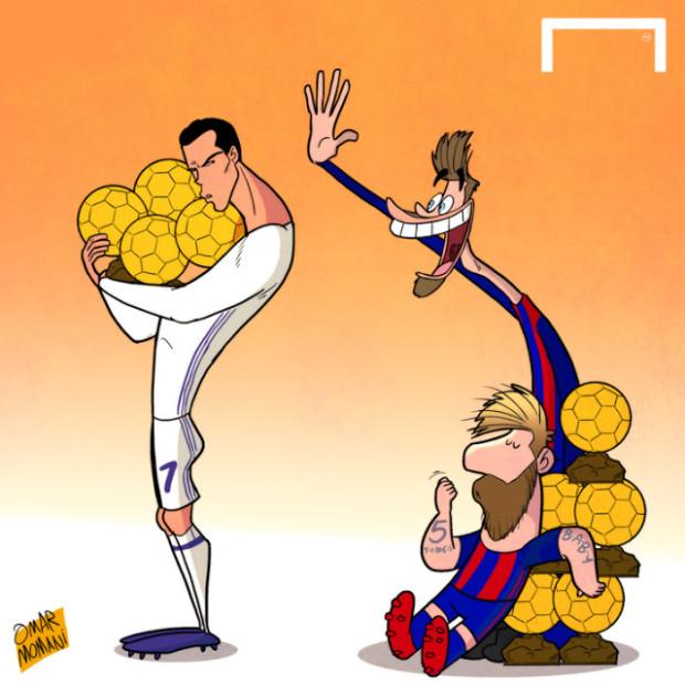Лео Месси и Криштиано Роналду - герои футбольной карикатуры Омара Момани