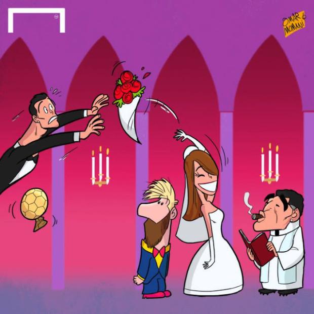 Лионель Месси женится - футбольная карикатура